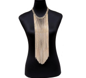 Multi-layer Metal Necklace Exquisite Exaggerated Tassels Sweater Chain Body Chain