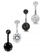 Sailimue 4-6 Pcs 14G Stainless Steel Belly Button Rings Navel Body Piercing Jewellery
