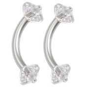 2pcs 16g 5/16 Curved Barbell Cartilage Earring Internally Threaded Helix Tragus Septum Rook Surgical Steel Prong Setting CZ