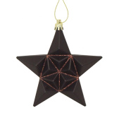 12ct Matte Chocolate Brown Glittered Star Shatterproof Christmas Ornaments 13cm
