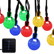ALUVEE Solar Powered Globe String Lights 30 LED 6m Crystal Ball Christmas Fairy String Light for Outdoor Xmas Tree Garden Path Patio Home Lawn Holiday Wedding Decor Party