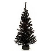 Canadian Pine Tree with Wood Look Base - 148 Tips - Black - 60cm