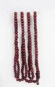 Seasons Treasure 2.7m Burgundy Cranberry Colour Wooden Beads Christmas Garland ,Holiday wood beads string garland