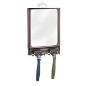 mDesign Power Lock Suction Bathroom Shaving Mirror with Storage Hooks for Shower - Bronze