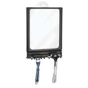 mDesign Power Lock Suction Bathroom Shaving Mirror with Storage Hooks for Shower - Matte Black