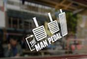 25x23cm White Vinyl Sticker Decal The Man Pedal Car Auto Glass Bumper