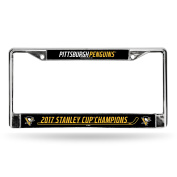 NHL Pittsburgh Penguins 2017 Stanley Cup Champions Chrome Frame, Black, 30cm by 15cm