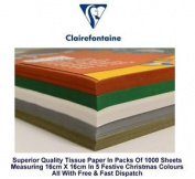Tissue Paper Festive Christmas Xmas Colours Craft 16 X 16cm 18gsm 1000 Sheets