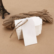 100 X White Kraft Paper Tags Label Luggage Wedding Blank + Strings