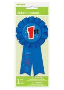 Blue 1st Place Award Ribbon Rosette Badge