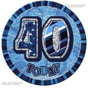 40th Happy Birthday Badge Glitz Blue Party Decorations Unisex Party Supply