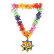 Hawaii Lei Tinsel Happy 50th - Birthday Necklace