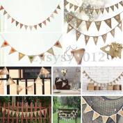 Vintage Shabby Hessian Burlap Banner Rustic Xmas Wedding Bunting Party Decor