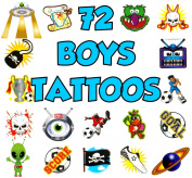 72 Boys Temporary Tattoos Childrens Toy Loot Pinata Birthday Party Bag Fillers