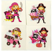 6 Pink Pirate Temporary Tattoos - Pinata Toy Loot/party Bag Fillers Wedding/kids