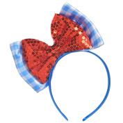 Adult Kansas Cutie Headband Wizard Hair Bow Oz Alice Band Red Blue Fancy Dress