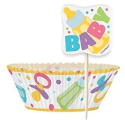 Baby Shower Cupcake Cases And Cupcake Toppers Kit For 24