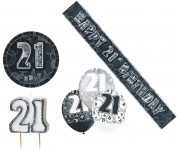 21st Birtday Black Decoration Pack Balloons Banner Candle Badge Party Decoration