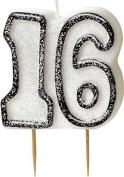 Glitz Black 16th Birthday Candle