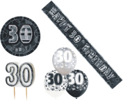30th Birtday Black Decoration Pack Balloons Banner Candle Badge Party Decoration