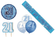 21st Blue Birtday Decoration Pack Balloons Banner Candle Badge Party Decoration
