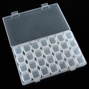 Clear Plastic 28 Slots Nail Art Tools Jewellery Display Storage Box Case Organiser