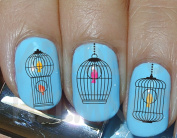 AWS Set Water Newsee Decals Cage Birds Cage Nail Art Stickers Stickers Transfer Birds in Cage Decoration Vintage Cage Canaries Ancient Bird Cage