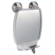 InterDesign Forma Power Lock - Shower Shaving Mirror with Razor Holder and Suction Cup - Clear - 2.2 x 15cm x 22cm