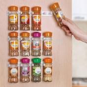 Vinallo Plastic White Spice Gripper Clip Strips Cabinet Door Organiser Rack -Hold 20 Jars