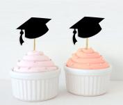 Darling Souvenir, Graduation Cap Hat Cupcake Toppers, Grad Party Dessert Decorations - Pack Of 20