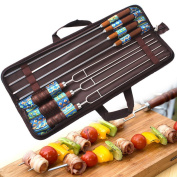 ParaCity Marshmallow Roasting Sticks Stainless Steel Barbecue fork 7 Pack Hot Dog Smores Forks BBQ Skewers For Fire Pit, Camping, Campfire, Bonfire & Outdoor Cookware Kit with Carrying Case