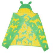 Breganwood Organics Kids Hooded Towel, Green with Yellow Zebras