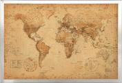 Framed Antique Style World Map 24x36 Poster in Brushed Nickel Finish Wood Frame