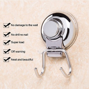 Meiyiu 360¡ãRotary Powerful Sucker Double Hook Stainless Steel Metal Colour 116.53.8cm Bathroom Wall Waterproof Nailless