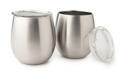 UKonserve Insulated Wine Glass (Set of 2), Silver