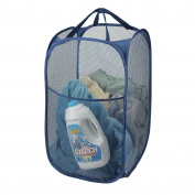 Mesh Pop-Up Laundry Hamper, Navy Blue - 36cm x 60cm - Easy to open and folds flat for storage. Hampers mesh material helps eliminate laundry odours and moisture. Great laundry hamper for college dorm.