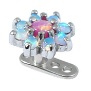 Titanium Micro Dermal Anchor with 7.5mm diameter Synthetic Opal Flower in Pink and Light Blue. Base is Titanium with a stem height of 2.5mm (standard).