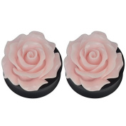 1Pair Rose Flower Acrylic Ear Double Flare Saddle Plug Tunnel Stretcher Expander