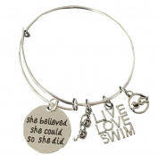 Swimming Bracelet- Girls Swim Bracelet- Swim Jewellery - Perfect Gift For Swimmers