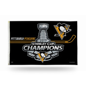 NHL Pittsburgh Penguins 2017 Stanley Cup Champions Banner Flag, Black, 0.9m x 1.5m