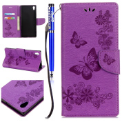 FESELE Wallet Case For Sony Xperia XA1,PU Leather Flip Wallet [Kickstand Feature] Cover Case,Butterfly Flower pattern PU Leather Stand Function Protective Cases Covers with Card Slot Holder Wallet Book Design Detachable Hand Strap for Sony Xperia XA1 + ..
