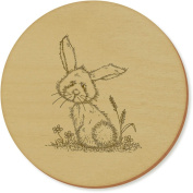 6 x 'Rabbit In The Grass' 95mm Round Wooden Coasters