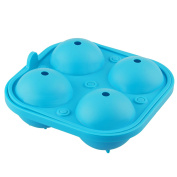 Levivo Silicone Ice Cube Mould For 4 Large Ice Balls, Silicone Mould For 4 Round Ice Cubes/ Ice Balls, Each with The Diameter of approx. 6.5 cm, 2 Piece Mould, Consisting of A Base And A Lid, Blue