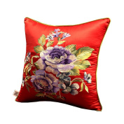Chinese Style Classical Flowers Embroidered Decorative Pillows Sofa Pillow Cover, #02
