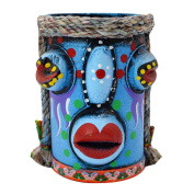 Monique Exotic Style Bamboo Pen Pencil Container Holder Home Office Desk Decoration Blue