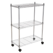 3-Tiers Storage Organiser Wire Metal Shelving Unit on Wheels for Kitchen Bathroom Garage Bedroom Anywhere