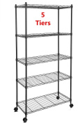 5-Tiers Storage Organiser Wire Metal Shelving Unit on Wheels for Kitchen Bathroom Bedroom Garage Anywhere