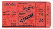 1952 World Series Game 2 Vintage Ticket Stub Yankees vs Brooklyn Dodgers at Ebbets Field