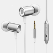 SCASTOE Metal Magnetic Bass In-Ear Headset Cell Phone Headphone with Mic -Silver