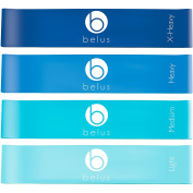 Resistance Bands by Belus with Carry Bag, Video Download & eBook. Set of Four Loop Bands for Rehabilitation, Exercise and Fitness.